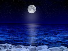 Moon surrounded by blues ~