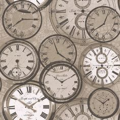 Clock Faces Taupe wallpaper by Albany