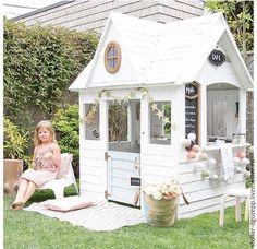 Купить Детский домик для игры на даче - белый, синий, сосна массив, берёза