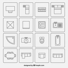 Furniture symbols used in architecture plans Free Vector
