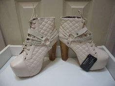 Womens Ladies Beige High Block Heel Shoes Ankle Boots Size UK 3,4,5,6,7 New  Useful Info:  - Standard Size - Standard Fit - By Martina Gabriele - Beige In Colour - Heel Height: 5 Inches - Platform: 2 Inches - Lace Up Fastening - Wooden Block Heel  - Diamante Detail To Straps - Quilted Detail - Synthetic Leather Upper #boots #beige #shoes #ankleboots #highheel #quilted #blockheel #platform #diamante #laceup #fashion #footwear #forsale #womens #ladies #ebay #ebayseller #ebayshop #ebaystore