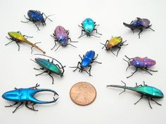 glass sculptor Wesley Fleming - artwork, 'Mini Dichroic Jewel Beetles'
