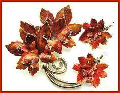 Vintage Brooch Pin & Earring Set SIGNED by BrightgemsTreasures, $34.50
