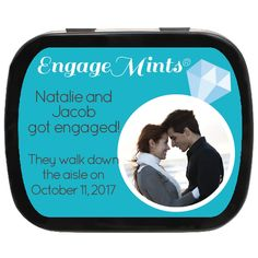 Diamond Ring Personalized Engagement Favor Photo Mint Tins, how cute are these for Engagement Party Favors, Wedding Favors, Mint Tins, Getting Engaged, Walking Down The Aisle, Ring, Diamond, Cute, Wedding Keepsakes