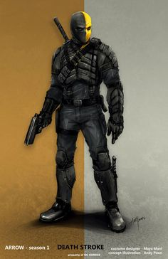 """Concept art by Andy Poon of Deathstroke in his season 1 design from """"Arrow"""". Deathstroke Arrow, Deathstroke Cosplay, Deathstroke The Terminator, Deadshot, Comic Villains, Comic Book Characters, Comic Character, Comic Books, Comic Superheroes"""