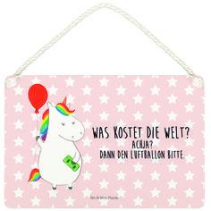 Deko Schild Einhorn Luftballon aus MDF  Weiß - Das Original von Mr. & Mrs. Panda.  Ein wunderschönes Schild aus der Manufaktur von Mr. & Mrs. Panda - die Schilder werden von uns direkt nach der Bestellung liebevoll bedruckt und mit einer wunderschönen Kordel zum Aufhängen versehen.    Über unser Motiv Einhorn Luftballon  Ein Einhorn Edition ist eine ganz besonders liebevolle und einzigartige Kollektion von Mr. & Mrs. Panda. Wie immer bei unseren Produkten sind alle Motive handgezeichnet und…