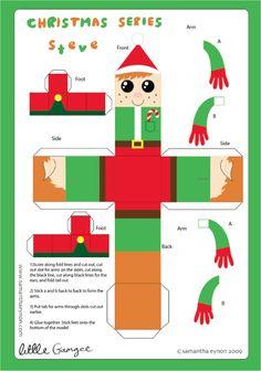 Blog Paper Toy christmas papertoys Samantha Eynon Elf template preview Christmas papertoys de Samantha Eynon