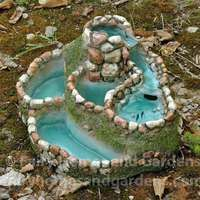 Gardening Fairy Garden Waterfall Planter - The split log planter is made of hypertufa, a cement product, and is in diameter. Fairy Garden Furniture, Fairy Garden Houses, Fairy Gardening, Tower Garden, Gardening Quotes, Gardening Books, Gardening Tips, Diy Jardim, Fairy Fountain