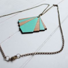 Lasercut Bamboo Wood Pendant Geo Mint Colour by pombypomegranate