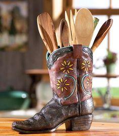 Country Western Cowboy Boot Kitchen Utensil Holder  #VT Industries #countertops  www.vtindustries.com