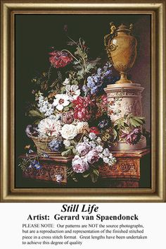 Still Life, Flowers Counted Cross Stitch Pattern, Kit and E-Pattern Download #crossstitchonpinterest