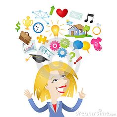 Illustration about Vector illustration of a cartoon character: Smiling woman pointing and looking at symbols of hopes and dreams over her head. Illustration of illustration, issues, dreams - 40649530 A Cartoon, Cartoon Characters, Dream Symbols, Hope Symbol, Hopes And Dreams, Stock Photos, Illustration, Vectors, Sign