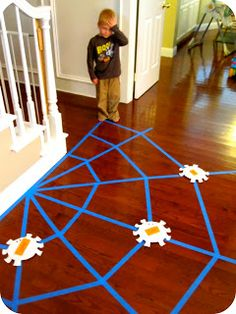 Sight Word Spider Web.  The words are on the spiders.  Perfect for kids who have a hard time sitting and working on traditional homework!