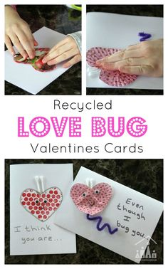 Even Though I Bug You. Soothe sibling rivalry with these simple Recycled Love Bug Valentines Cards for sibling to make for each other. Creative Activities For Kids, Craft Projects For Kids, Crafts For Kids To Make, Art Activities, Diy Valentines Cards, Valentine Day Love, Valentine Day Crafts, Valentine Ideas, Valentine's Cards For Kids