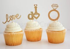 Gold Glitter Cupcake Toppers  Bridal Cupcake by JessicaJCreates
