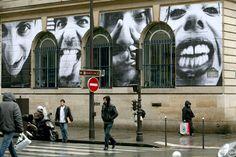 JR's work on the outside of Rivoli Street, Paris