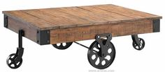 This beautiful cart coffee table made of reclaimed barn wood, collected from the planks of barn will easily become the centerpiece of your living or family room. Each one of these tables we build is as beautiful as it is unique.