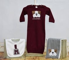 Hey, I found this really awesome Etsy listing at https://www.etsy.com/listing/551725174/baby-boy-bulldog-msu-gown-bib-and-burp