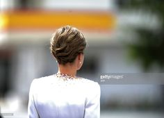 Spain's Queen Letizia attends a ceremony held in honour of the Spanish Guardia Civil at their headquarters, in Vitoria on May 13, 2015. Spain's Queen Letizia delivered the national flag to the 11th National Teach Zone of the Civil Guard. AFP PHOTO/ ANDER GILLENEA