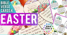 Easter Bible Verse Cards for Kids - Bible Story Printables Easter Bible Verses, Printable Bible Verses, Printable Cards, Printables, Bible Stories For Kids, Bible For Kids, Seasons Kindergarten, Jesus Resurrection, Jesus Christ