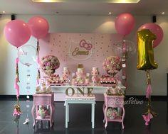 Asi quedo la celebración del cumpleaños #1 de Emma!! // Emma's 1st birthday hello Kitty decoration Decoradora @ReneeCoheng