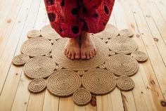 Items similar to Handmade natural area rug jute stitched carpet on Etsy Rope Crafts, Diy Home Crafts, Diy Arts And Crafts, Sisal, Lace Bedroom, Jute Carpet, Rope Rug, Rope Decor, Home Room Design