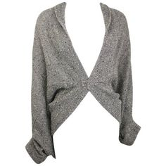 Preowned Limi Feu Grey Knitted Wool Bolero Cardigan With Silver Pin ($680) ❤ liked on Polyvore featuring tops, cardigans, bolero jackets, grey, silver cardigan, gray cardigan, limi feu, silver metallic cardigan and grey cardigan