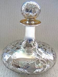 Rare Vintage Sterling Silver Overlay Perfume Bottle