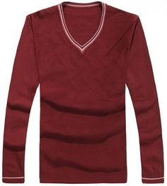 Men Spring V-Neck Long Sleeve All Matching Slim Wine Red Knitting Sweater One Size@WH0107wr