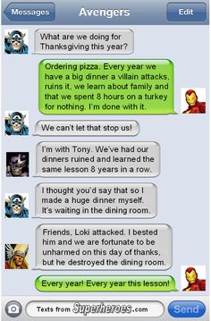 Happy Thanksgiving from Texts From Superheroes