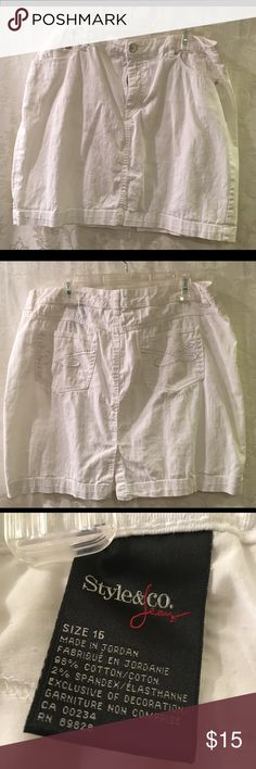 White Mini Skirt with Tummy Control. Style & Co Jeans Women's Sz 16 Cotton Spandex Blend White Mini Skirt with Tummy Control. 98% cotton; 2% spandex.  Thank you for viewing my product. If you have any questions please contact me. Style & Co Skirts Mini