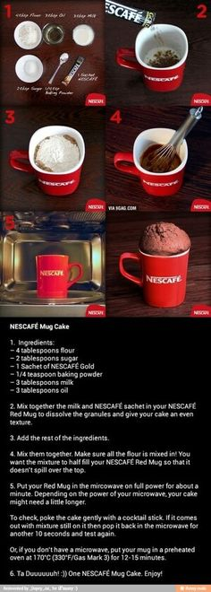 How To Make A NESCAFÉ Mug Cake For going down memory lane with Nescafé in all the places I've lived in the world, especially Africa. I have several of these Nescafé mugs :-) gifting cup with mug cake recipe Mug Recipes, Coffee Recipes, Sweet Recipes, Cooking Recipes, Cooking Cake, Drink Recipes, Microwave Cake, Microwave Recipes, Oven Recipes