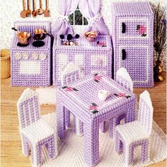 Dollhouse Kitchen Plastic Canvas ePattern Plastic Canvas doll furniture patterns