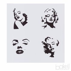 Bakell™ Marilyn Monroe Faces Cookie Stencil - Decorating and Crafting Stencils from Bakell Marilyn Monroe Stencil, Marilyn Monroe Pop Art, Face Stencils, Stencil Art, Marilyn Monroe Tattoo, Angel Drawing, Royal Icing Decorations, Air Brush Painting, Cartoon Design