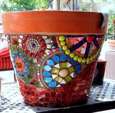 simple mosaic pots garden - Google Search