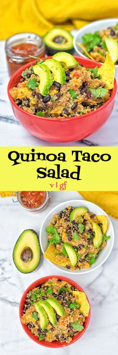 Enjoy this #vegan Quinoa Taco Salad made with just 5 ingredients in 2 easy steps. A plant-based, #glutenfree, #Mexican delight with #quinoa, #salsa, #blackbeans, and #avocado. #dinner, #lunch, #recipe