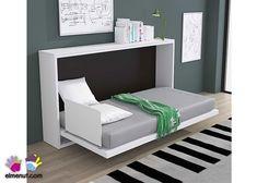 Cama abatible horizontal modelo Krono para colchon de 90 x 190. Murphy-bett Ikea, Ikea Sofa, Horizontal Murphy Bed, Modern Sleeper Sofa, Diy Bett, Hidden Bed, Bed In Closet, Bed Wall, Bed Plans