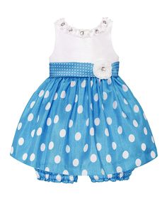 Look at this #zulilyfind! Turquoise & White Polka Dot Dress & Bloomers - Infant by  #zulilyfinds