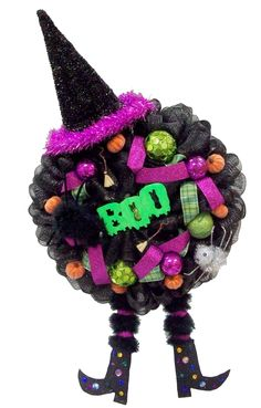 Boo Witch Wreath by Karen B., A.C. Moore Erie, PA #decomesh #wreath #halloween