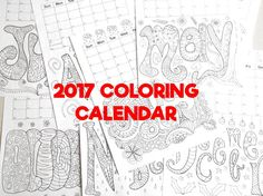coloring wall calendar 2017 adult kids school teaching agenda 12 months colouring download sheet diy printable print digital lasoffittadiste