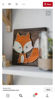 String art woodland fox creature purchased from Etsy from our woodland adventure. String art woodland fox creature purchased from Etsy from our woodland adventure themed nursery in Fox Nursery, Girl Nursery, Fox Themed Nursery, Nursery Room, Baby Boy Rooms, Baby Boy Nurseries, Country Boy Nurseries, Nursery Themes, Nursery Decor