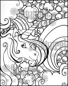 Instant Download Coloring Page Unicorn and Rainbows by Swurrl, $0.99