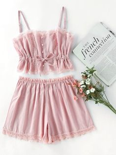 Shop Contrast Lace Cami With Shorts Pajama Set online. SheIn offers Contrast Lace Cami With Shorts Pajama Set amp; more to fit your fashionable needs. Pretty Lingerie, Hot Lingerie, Look Fashion, Fashion Outfits, Steampunk Fashion, Gothic Fashion, Winter Fashion, Summer Outfits, Cute Outfits