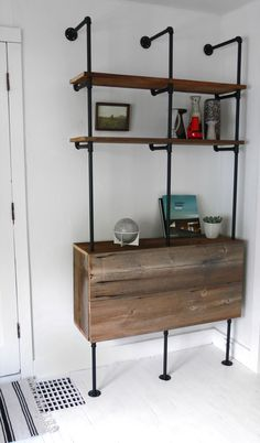 Reclaimed Wood & Pipe Shelving Unit Mid Century by Hindsvik. Storage in base? Pipe Furniture, Industrial Furniture, Furniture Design, Vintage Industrial, Furniture Ideas, Furniture Vintage, Modern Industrial, Industrial Design, Painted Furniture