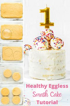 This Healthy Easy Eggless Smash Cake is perfect to celebrate your baby's first birthday! It's moist, fluffy and delicious. Plus, It's refined sugar-free and egg-free. Instructions to make it dairy and gluten free are included too. #recipe #easy #cake #diy #fromscratch #baby #smashcake #healthy #allegyfriendly #eggless #eggfree #egglessbaking #eggallergy Baby First Cake, Smash Cake First Birthday, Baby Cake Smash, Baby Birthday Cakes, Smash Cakes, Teen Birthday, Baby Cakes, Birthday Photos, Birthday Ideas