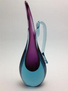 Murano art glass aqua teal turquoise purple