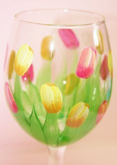 Hand Painted Wine Glass - Spring Tulips -  Personalized and Custom Wine Glasses for Birthday, Wedding, Party, Special Occasions