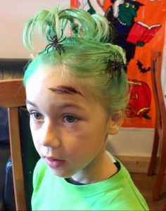 Green sprayed hair with spiders Crazy Hair Days, Spiders, Crown, Hair Styles, Beauty, Hair Plait Styles, Spider, Corona, Hairdos