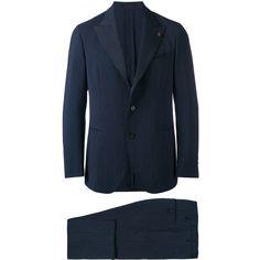 Gabriele Pasini Two Piece Suit ($834) ❤ liked on Polyvore featuring men's fashion, men's clothing, men's suits, mens wool suits, mens two piece suits, mens blue suit and men's 2 piece suits