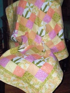 Summer Blooms Handmade Lap Quilt  Ready to Ship by PatsPassion
